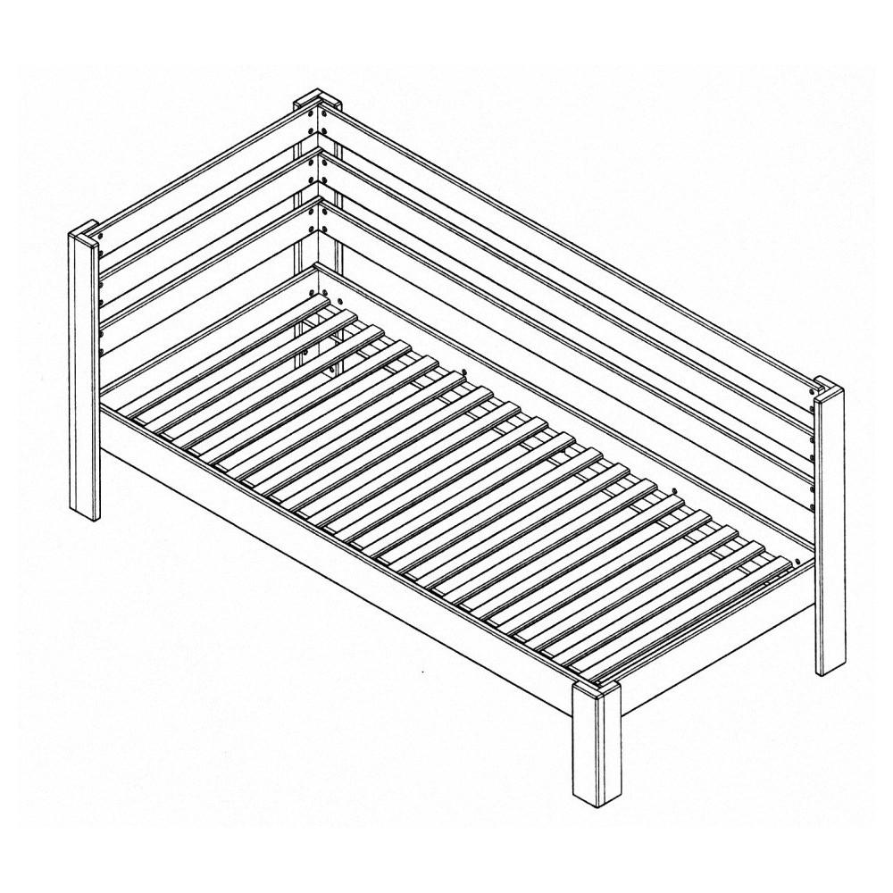 Masívna buková jednoposteľ so zábranami 90x200cm 2-2011-11
