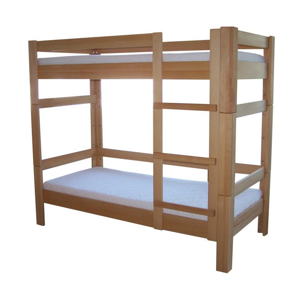 Poschodová posteľ z masívneho buka 90x200cm 2-2010-02