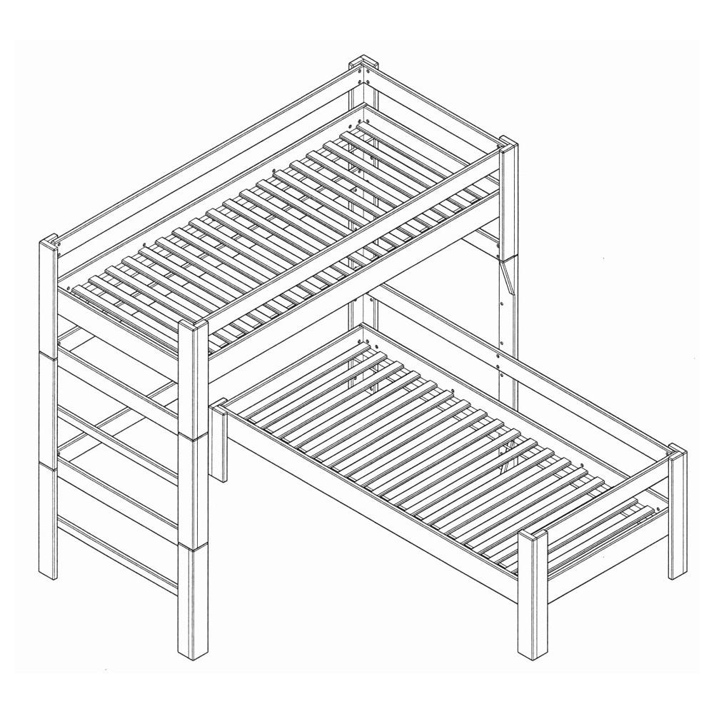 Poschodová posteľ z masívneho buka tvaru L 90x200cm 2-2013-01