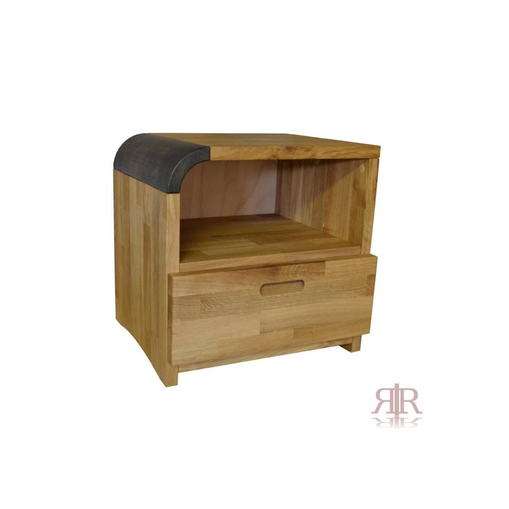 Masívny dubový nočný stolík so zásuvkou ľavý Duna 15 - 1102B