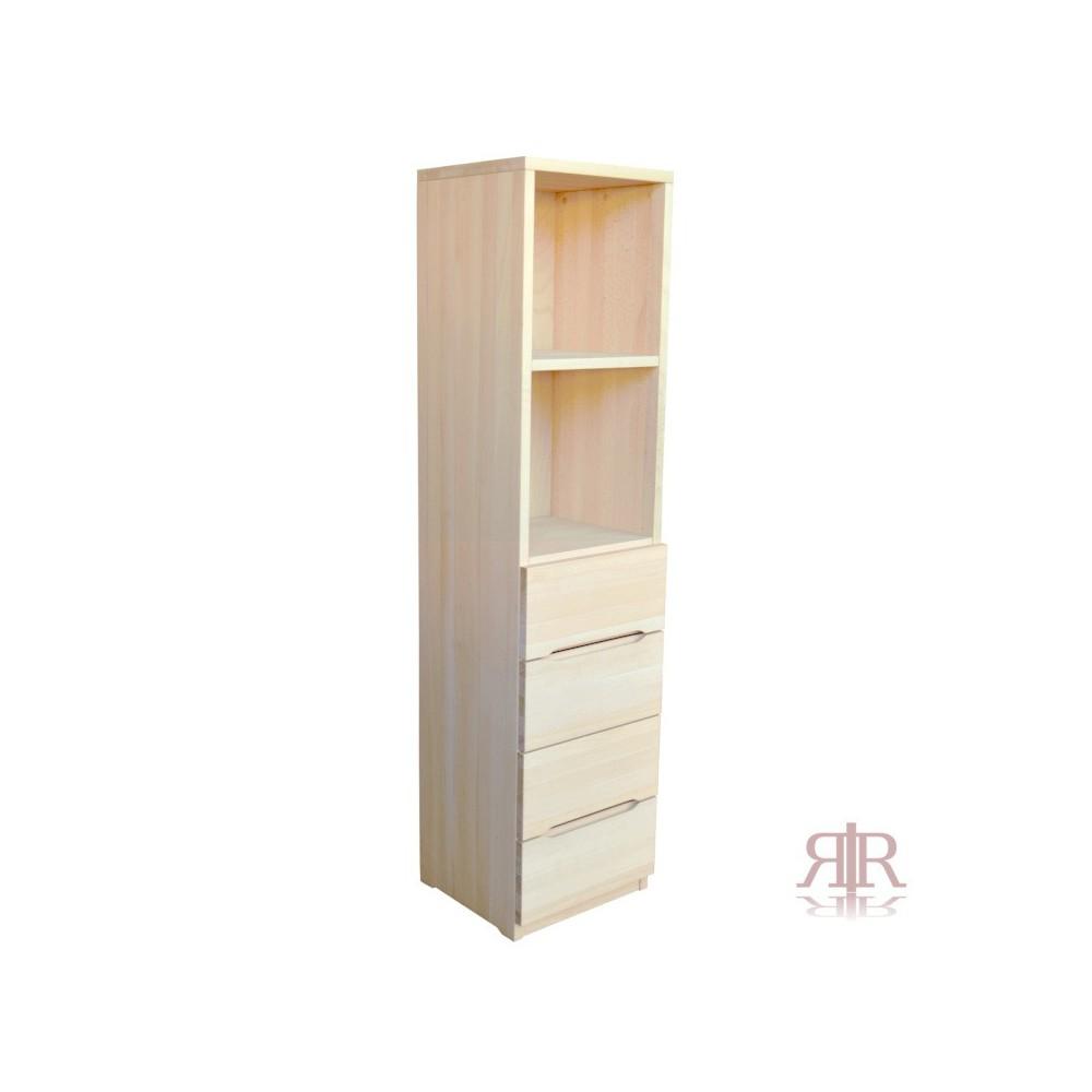 Masívna úzka a vysoká buková skrinka so zásuvkami Exclusive 13 - 1442