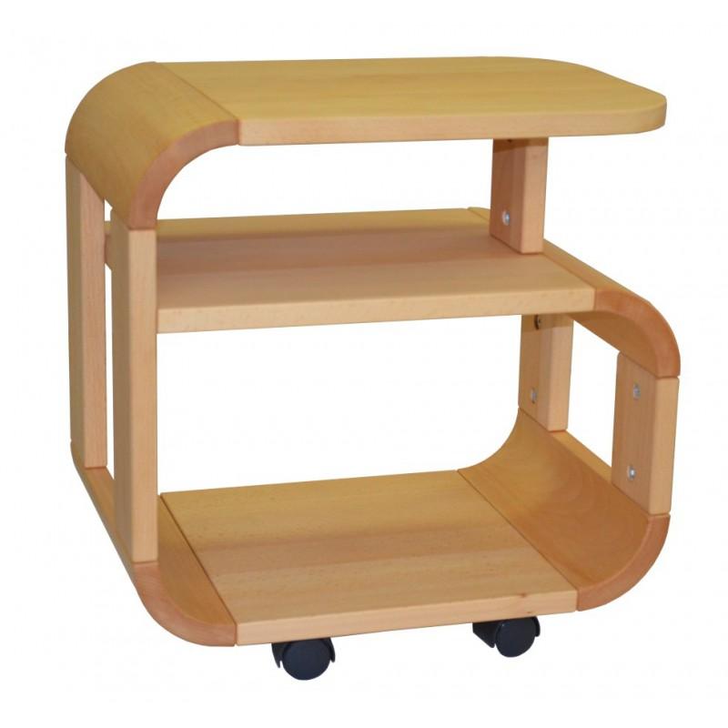 Masívny bukový nočný stolík na kolieskach 2-2013-001
