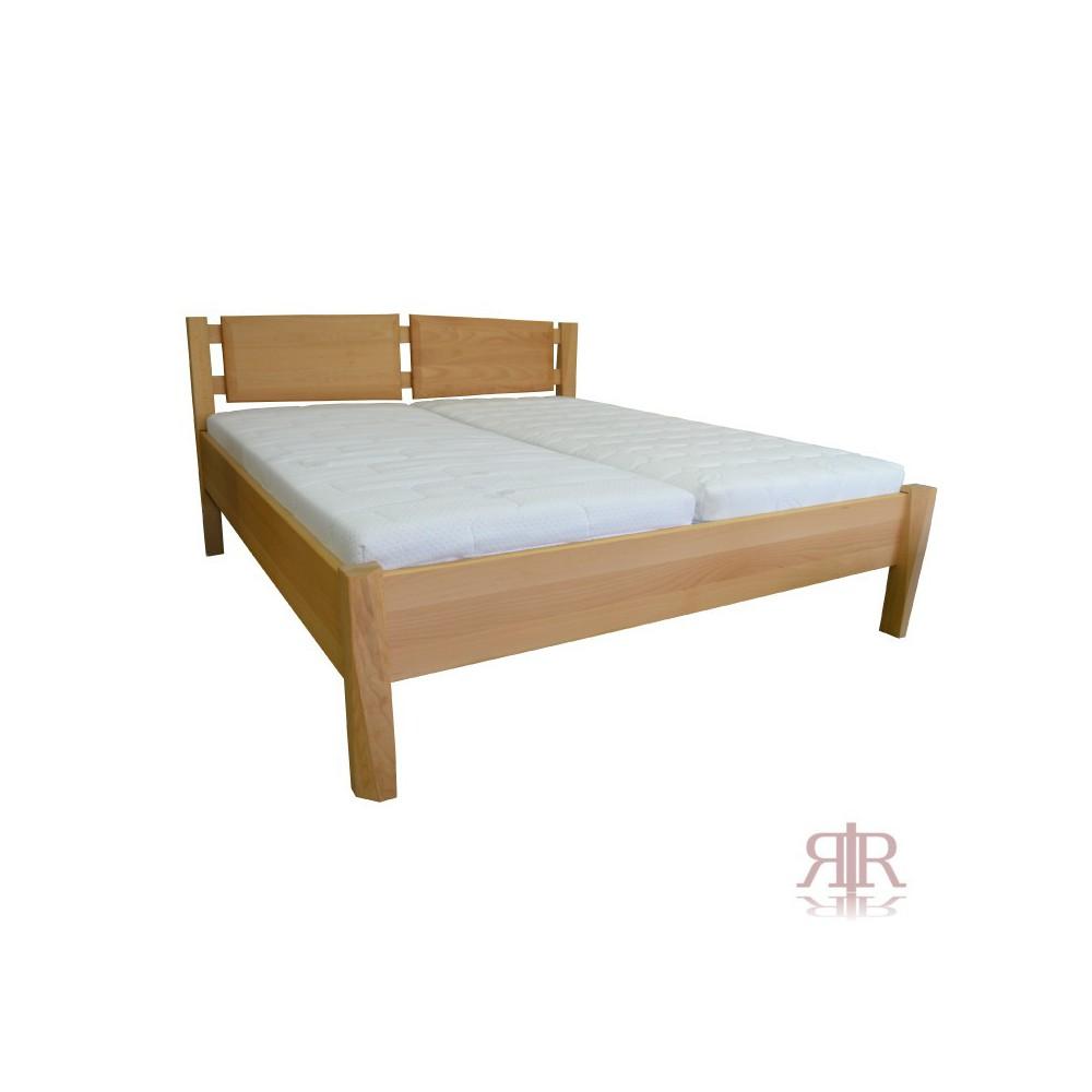 Masívna buková manželská posteľ s deleným čelom 160x200cm 2-2014-02