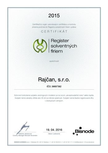 Certifikát Registra solventných firiem